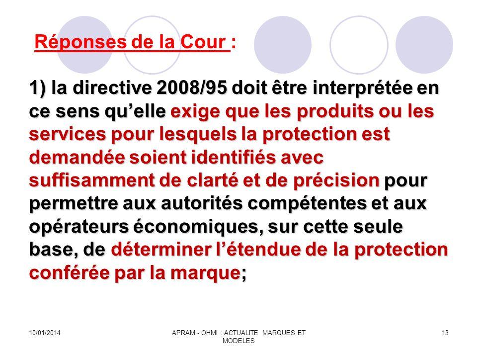 1) la directive 2008/95 doit être interprétée en ce sens quelle exige que les produits ou les services pour lesquels la protection est demandée soient
