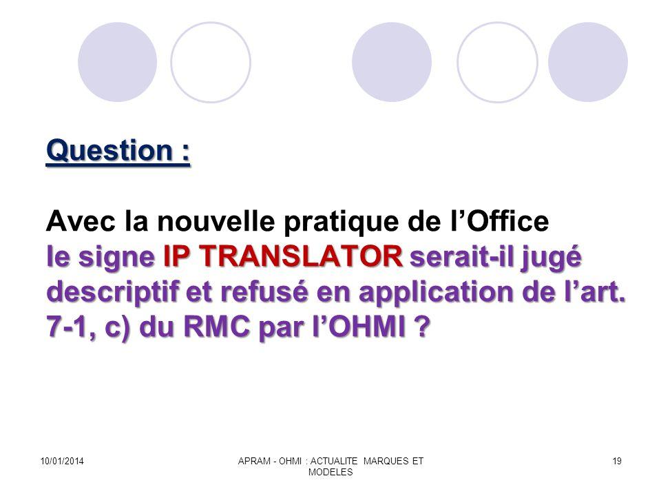 Question : le signe IP TRANSLATOR serait-il jugé descriptif et refusé en application de lart. 7-1, c) du RMC par lOHMI ? Question : Avec la nouvelle p