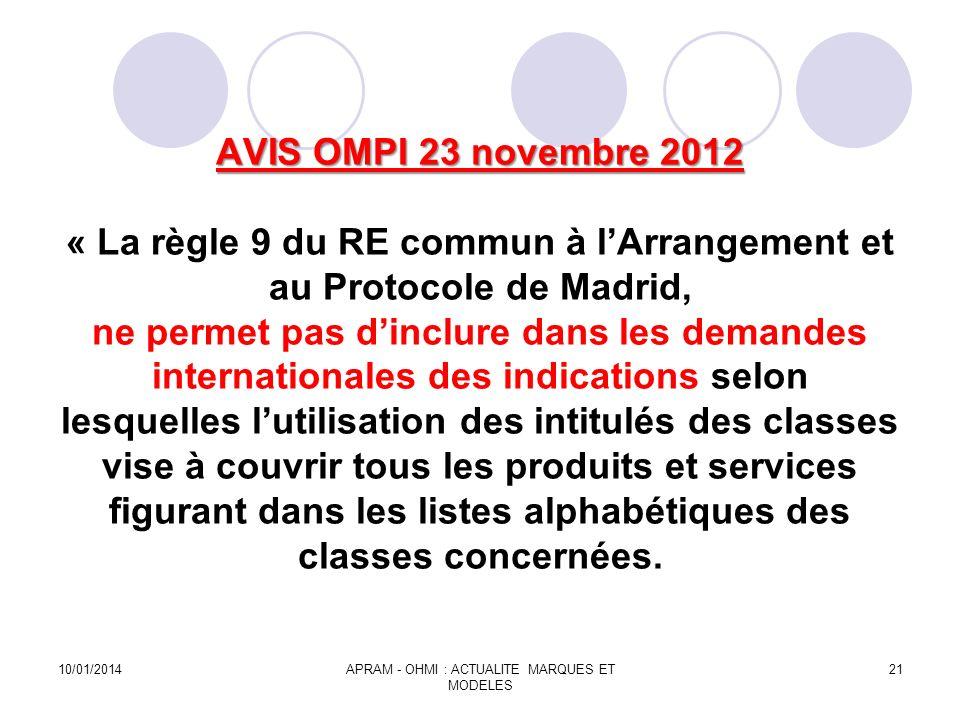 AVIS OMPI 23 novembre 2012 AVIS OMPI 23 novembre 2012 « La règle 9 du RE commun à lArrangement et au Protocole de Madrid, ne permet pas dinclure dans