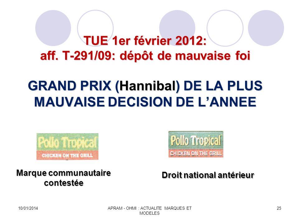 TUE 1er février 2012: aff. T-291/09: dépôt de mauvaise foi GRAND PRIX (Hannibal) DE LA PLUS MAUVAISE DECISION DE LANNEE Marque communautaire contestée