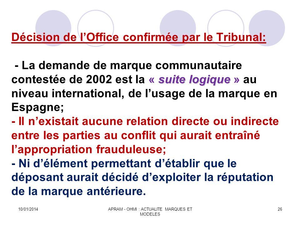 suite logique Décision de lOffice confirmée par le Tribunal: - La demande de marque communautaire contestée de 2002 est la « suite logique » au niveau