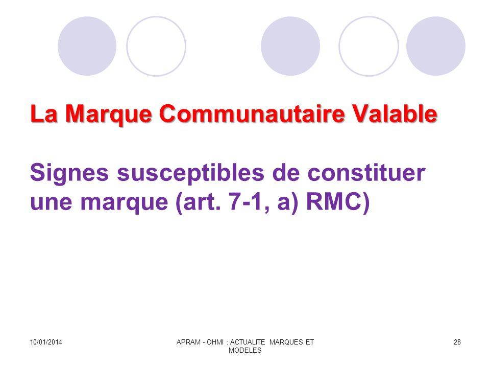 La Marque Communautaire Valable La Marque Communautaire Valable Signes susceptibles de constituer une marque (art. 7-1, a) RMC) 10/01/2014APRAM - OHMI