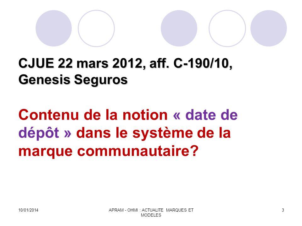 CJUE 22 mars 2012, aff. C-190/10, Genesis Seguros CJUE 22 mars 2012, aff. C-190/10, Genesis Seguros Contenu de la notion « date de dépôt » dans le sys