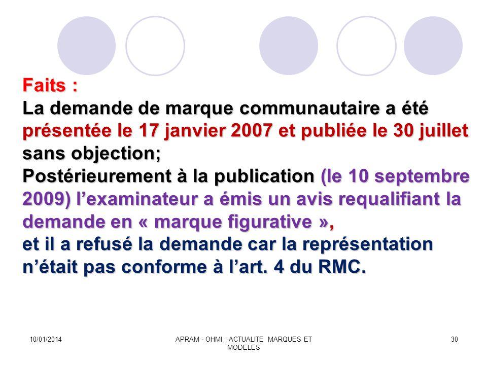 Faits : La demande de marque communautaire a été présentée le 17 janvier 2007 et publiée le 30 juillet sans objection; Postérieurement à la publicatio