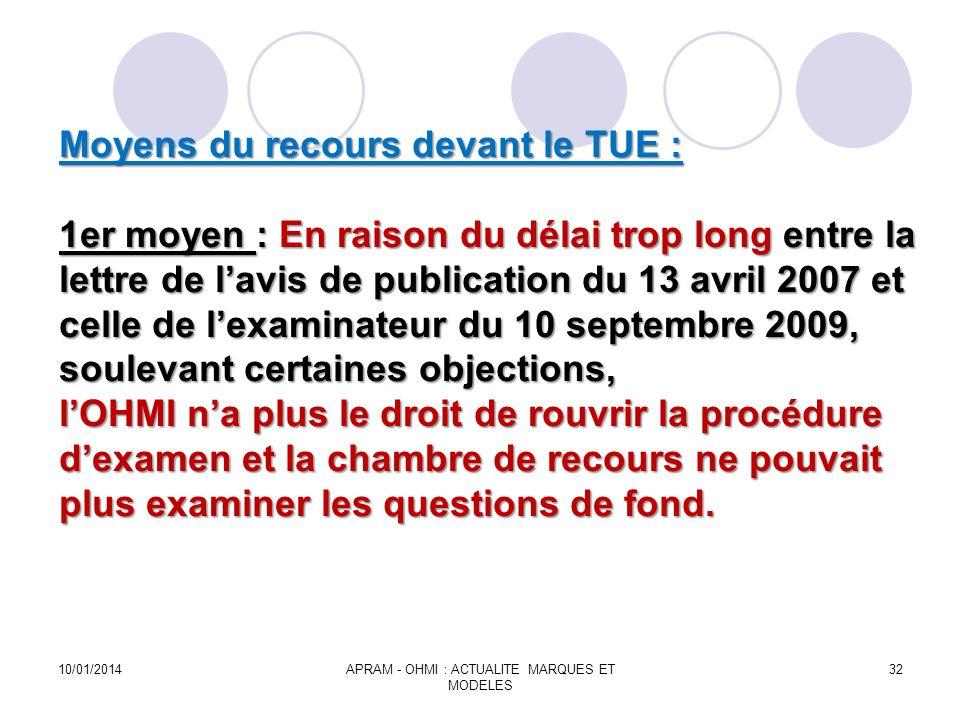 Moyens du recours devant le TUE : 1er moyen : En raison du délai trop long entre la lettre de lavis de publication du 13 avril 2007 et celle de lexami
