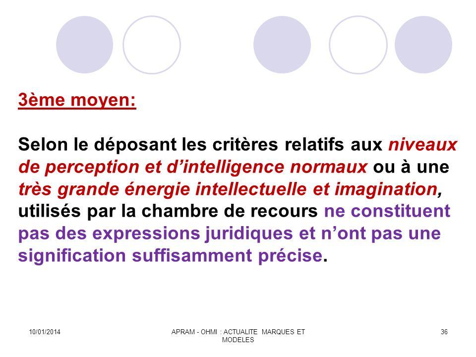 3ème moyen: Selon le déposant les critères relatifs aux niveaux de perception et dintelligence normaux ou à une très grande énergie intellectuelle et