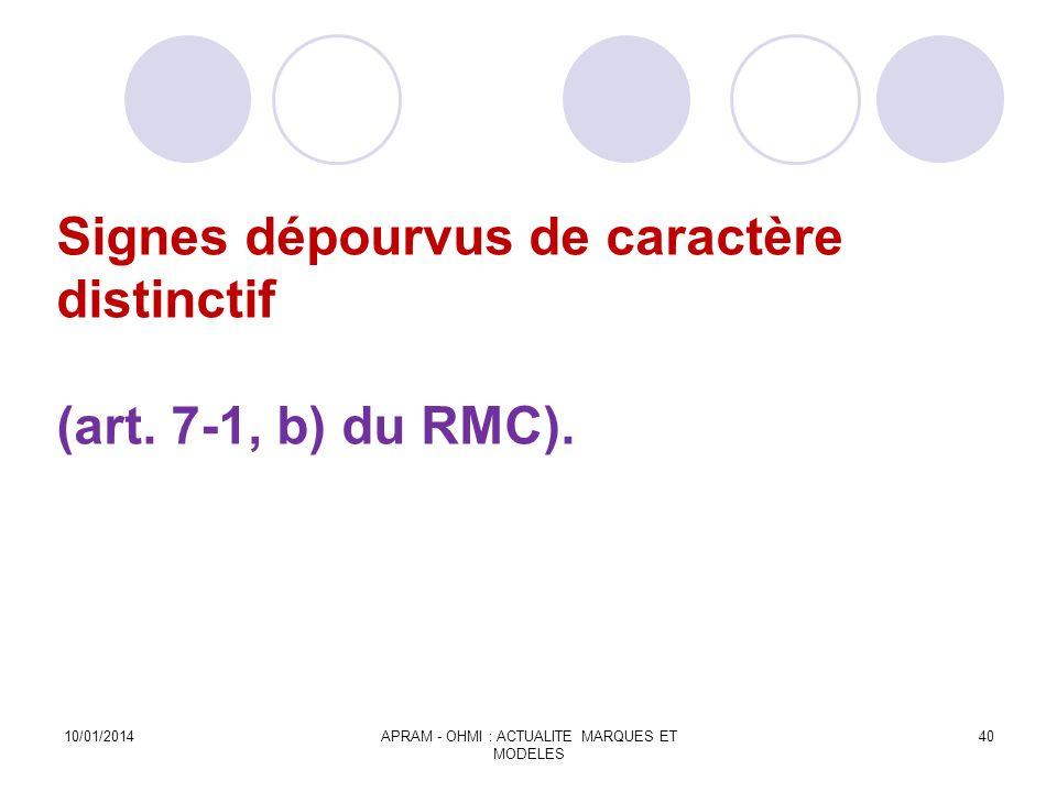 Signes dépourvus de caractère distinctif (art. 7-1, b) du RMC). 10/01/2014APRAM - OHMI : ACTUALITE MARQUES ET MODELES 40
