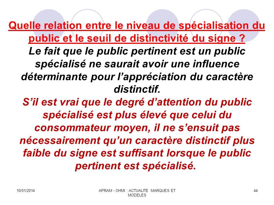 Quelle relation entre le niveau de spécialisation du public et le seuil de distinctivité du signe ? Le fait que le public pertinent est un public spéc