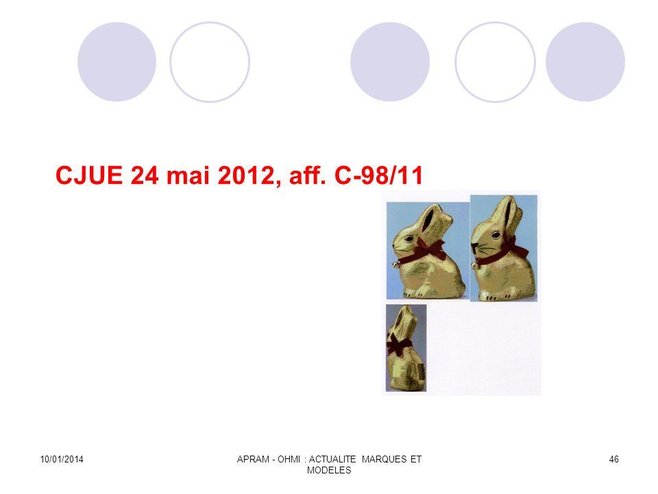 CJUE 24 mai 2012, aff. C-98/11 10/01/2014APRAM - OHMI : ACTUALITE MARQUES ET MODELES 46