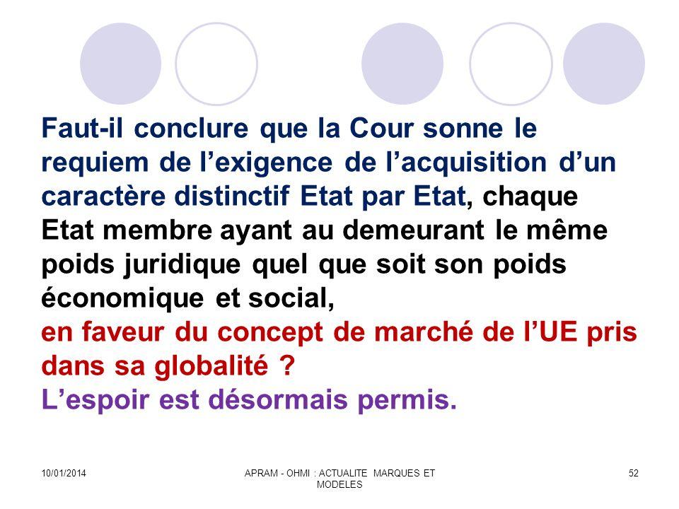 Faut-il conclure que la Cour sonne le requiem de lexigence de lacquisition dun caractère distinctif Etat par Etat, chaque Etat membre ayant au demeura