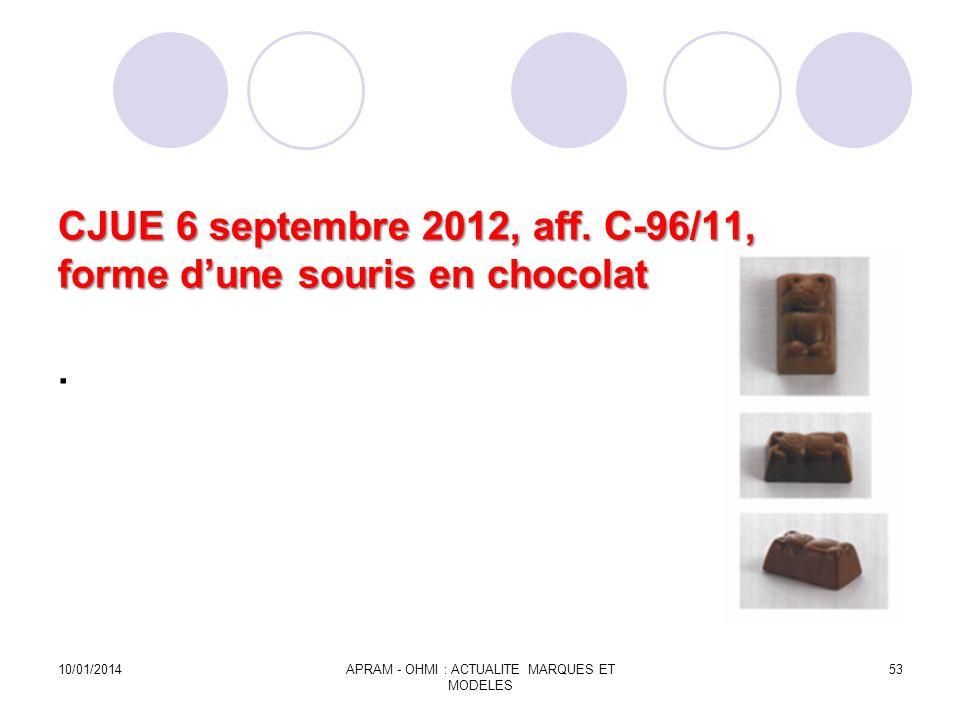 CJUE 6 septembre 2012, aff. C-96/11, forme dune souris en chocolat CJUE 6 septembre 2012, aff. C-96/11, forme dune souris en chocolat. 10/01/2014APRAM