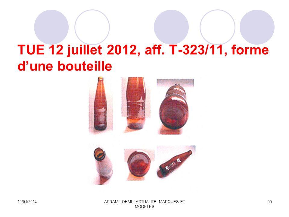 TUE 12 juillet 2012, aff. T-323/11, forme dune bouteille 10/01/2014APRAM - OHMI : ACTUALITE MARQUES ET MODELES 55