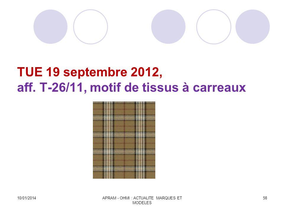 TUE 19 septembre 2012, aff. T-26/11, motif de tissus à carreaux 10/01/2014APRAM - OHMI : ACTUALITE MARQUES ET MODELES 58