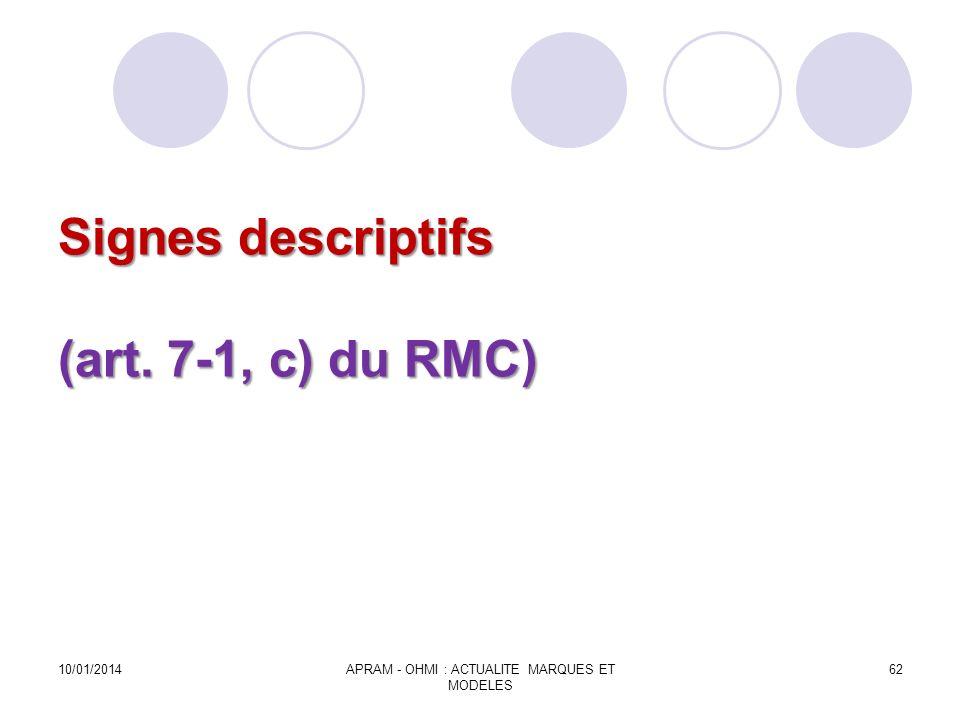 Signes descriptifs (art. 7-1, c) du RMC) 10/01/2014APRAM - OHMI : ACTUALITE MARQUES ET MODELES 62