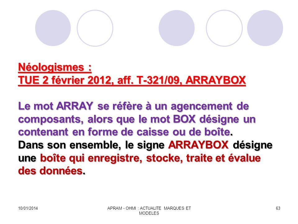 Néologismes : TUE 2 février 2012, aff. T-321/09, ARRAYBOX Le mot ARRAY se réfère à un agencement de composants, alors que le mot BOX désigne un conten