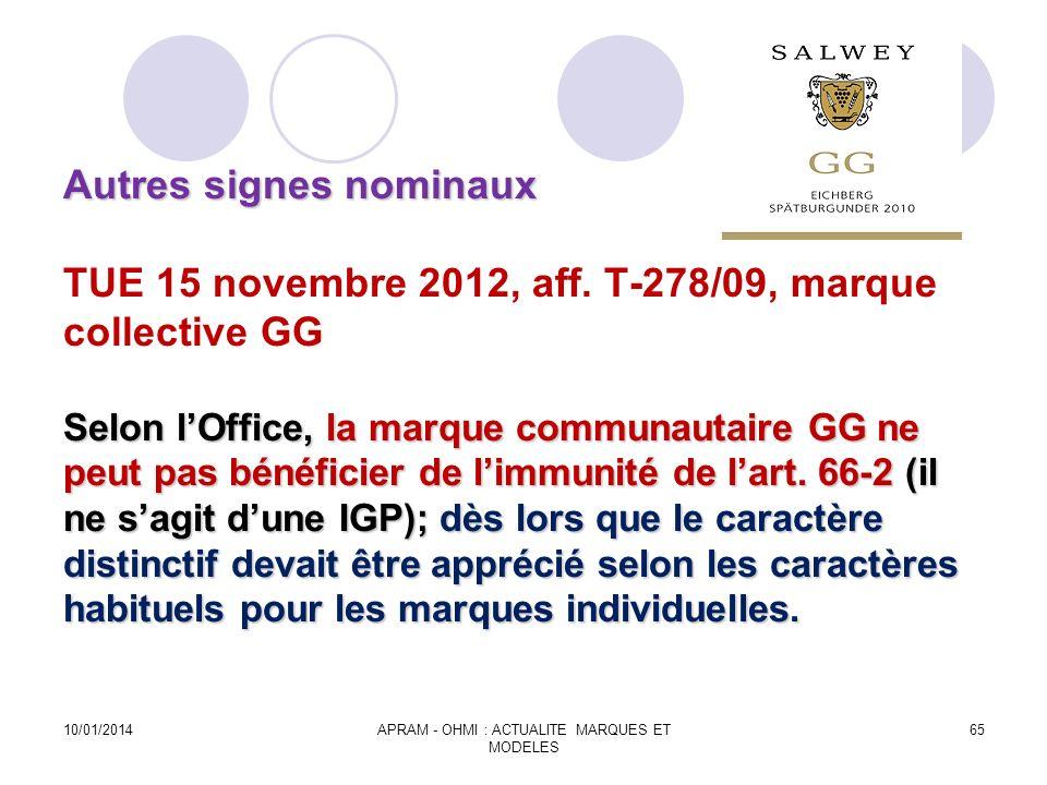 Autres signes nominaux Selon lOffice, la marque communautaire GG ne peut pas bénéficier de limmunité de lart. 66-2 (il ne sagit dune IGP); dès lors qu