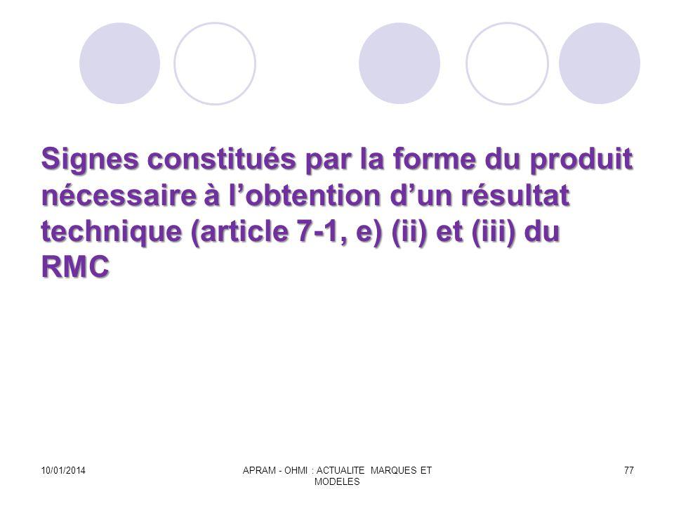 Signes constitués par la forme du produit nécessaire à lobtention dun résultat technique (article 7-1, e) (ii) et (iii) du RMC Signes constitués par l