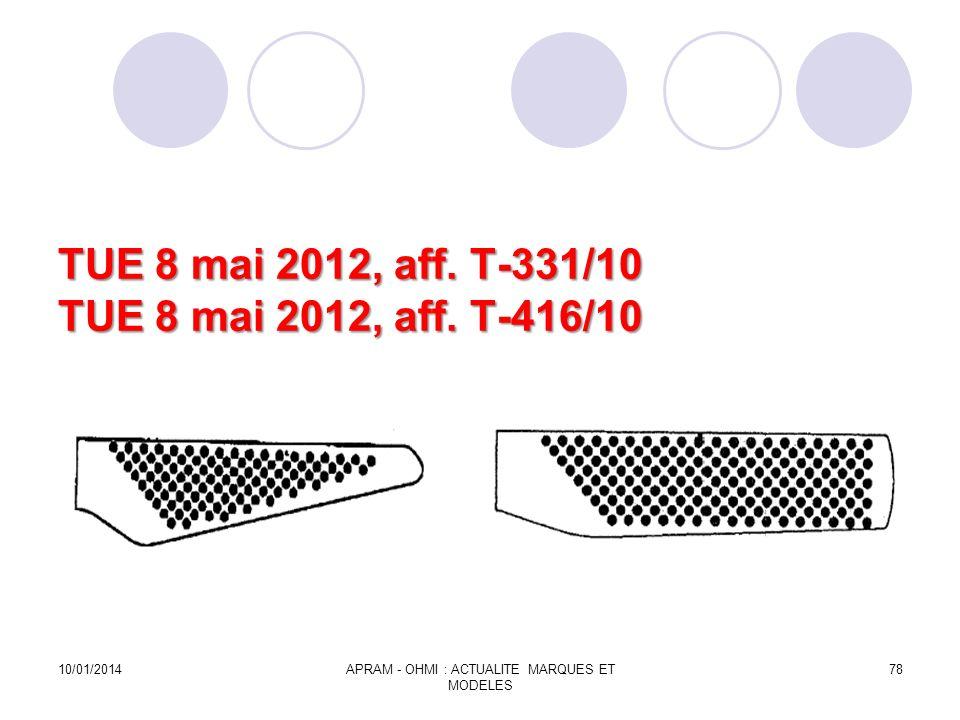 TUE 8 mai 2012, aff. T-331/10 TUE 8 mai 2012, aff. T-416/10 10/01/2014APRAM - OHMI : ACTUALITE MARQUES ET MODELES 78