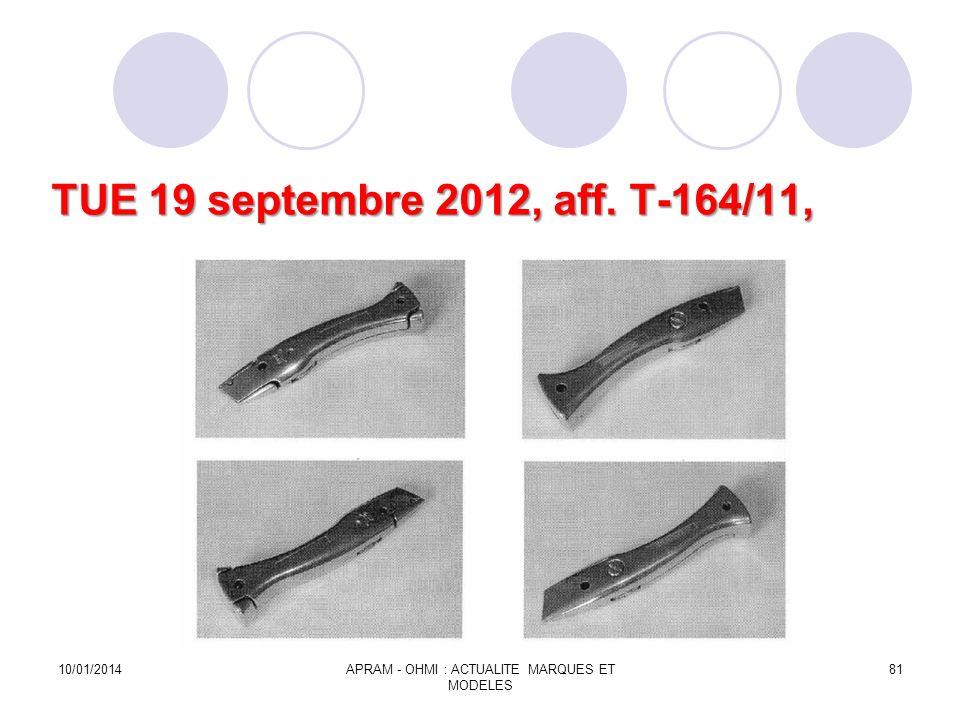 TUE 19 septembre 2012, aff. T-164/11, 10/01/2014APRAM - OHMI : ACTUALITE MARQUES ET MODELES 81