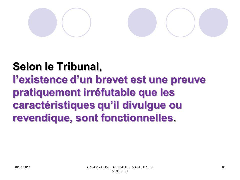 Selon le Tribunal, lexistence dun brevet est une preuve pratiquement irréfutable que les caractéristiques quil divulgue ou revendique, sont fonctionne