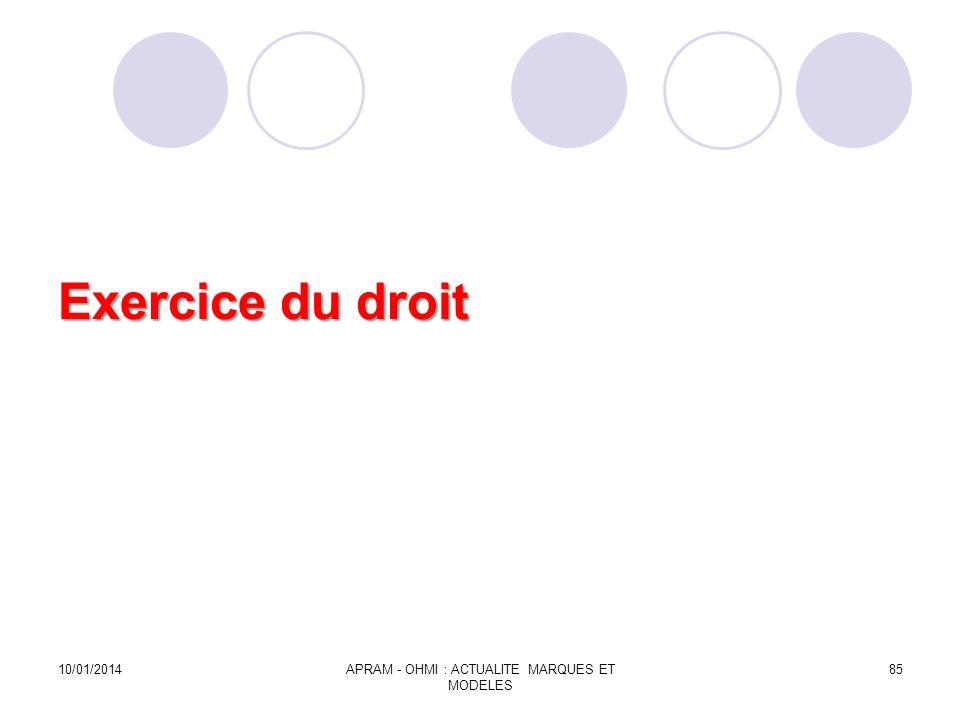 Exercice du droit 10/01/2014APRAM - OHMI : ACTUALITE MARQUES ET MODELES 85