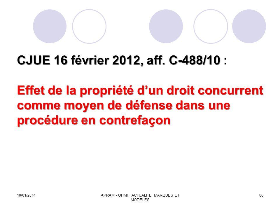 CJUE 16 février 2012, aff. C-488/10 Effet de la propriété dun droit concurrent comme moyen de défense dans une procédure en contrefaçon CJUE 16 févrie
