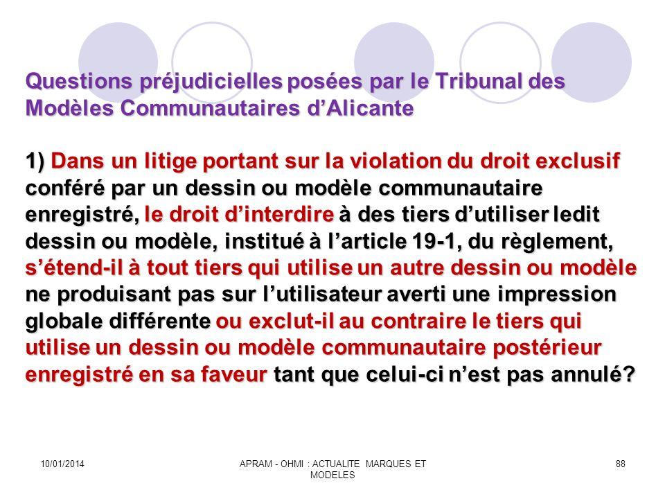 Questions préjudicielles posées par le Tribunal des Modèles Communautaires dAlicante 1) Dans un litige portant sur la violation du droit exclusif conf