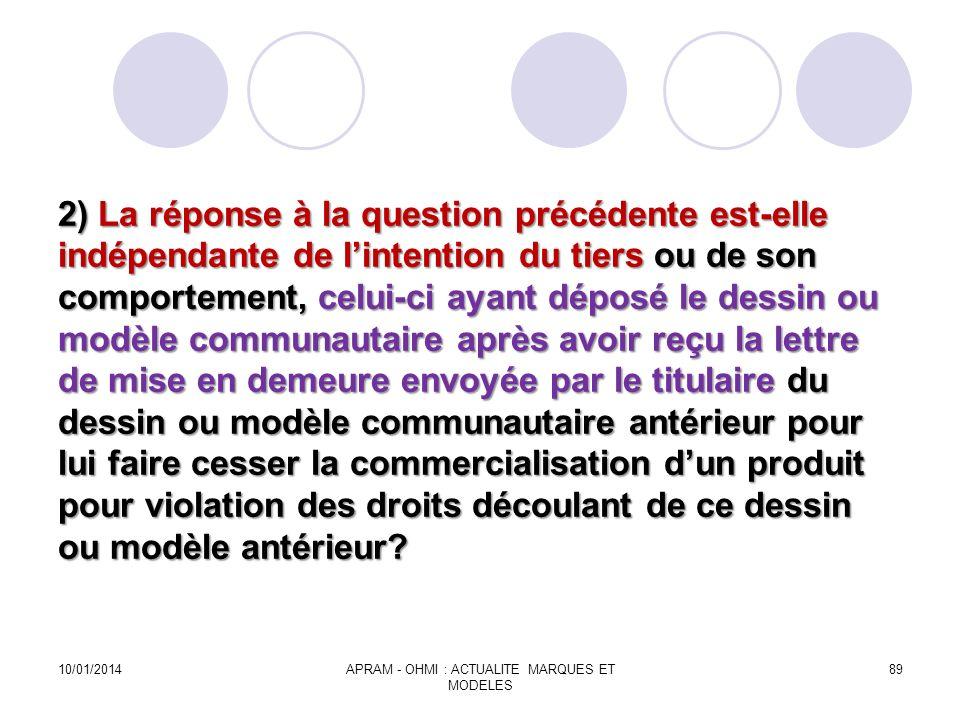 2) La réponse à la question précédente est-elle indépendante de lintention du tiers ou de son comportement, celui-ci ayant déposé le dessin ou modèle