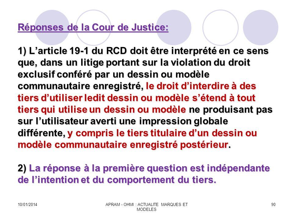 Réponses de la Cour de Justice: 1) Larticle 19-1 du RCD doit être interprété en ce sens que, dans un litige portant sur la violation du droit exclusif