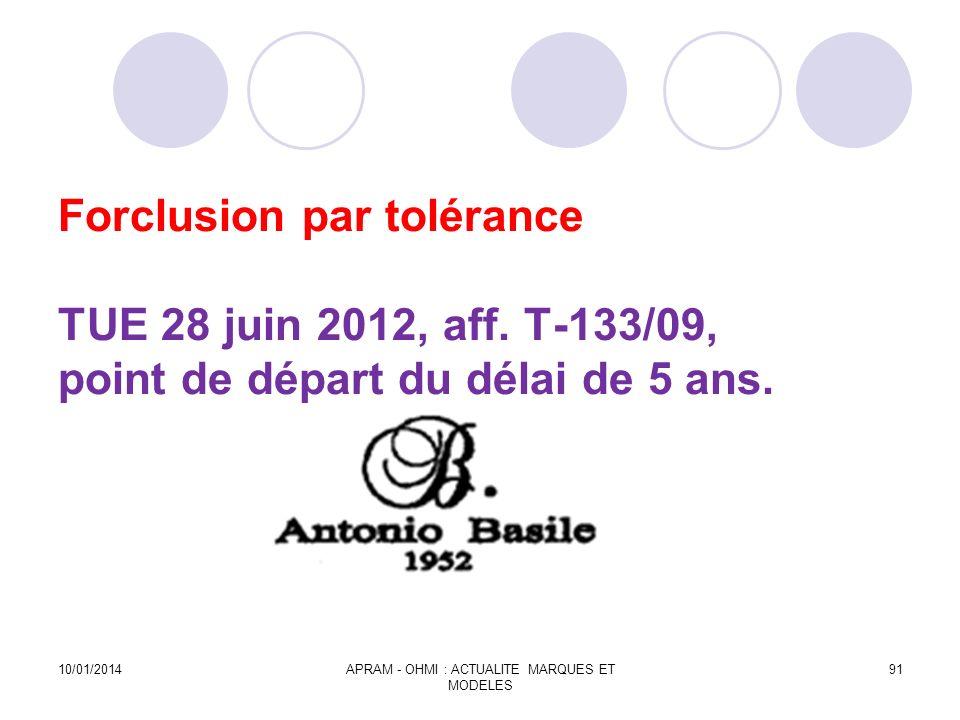 Forclusion par tolérance TUE 28 juin 2012, aff. T-133/09, point de départ du délai de 5 ans. 10/01/2014APRAM - OHMI : ACTUALITE MARQUES ET MODELES 91