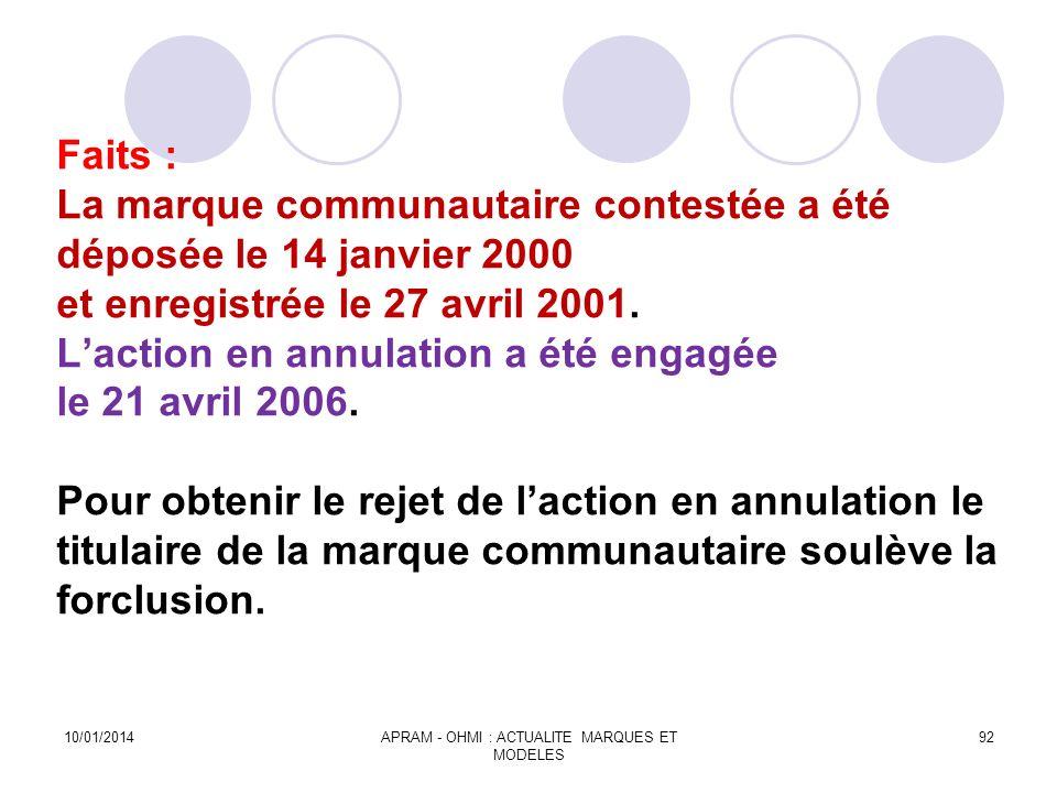 Faits : La marque communautaire contestée a été déposée le 14 janvier 2000 et enregistrée le 27 avril 2001. Laction en annulation a été engagée le 21