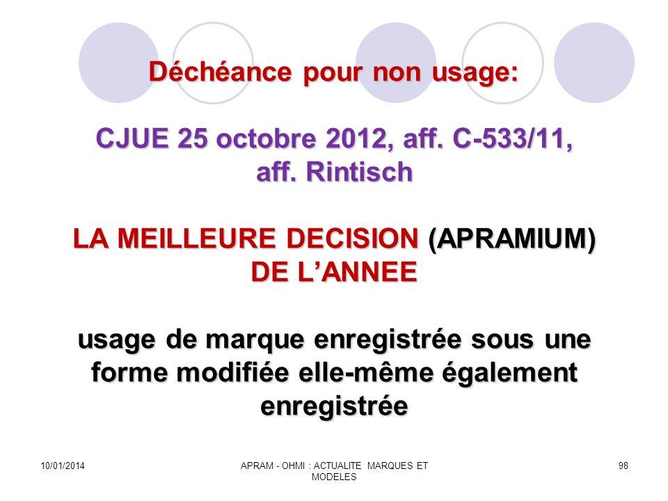 Déchéance pour non usage: CJUE 25 octobre 2012, aff. C-533/11, aff. Rintisch LA MEILLEURE DECISION (APRAMIUM) DE LANNEE usage de marque enregistrée so