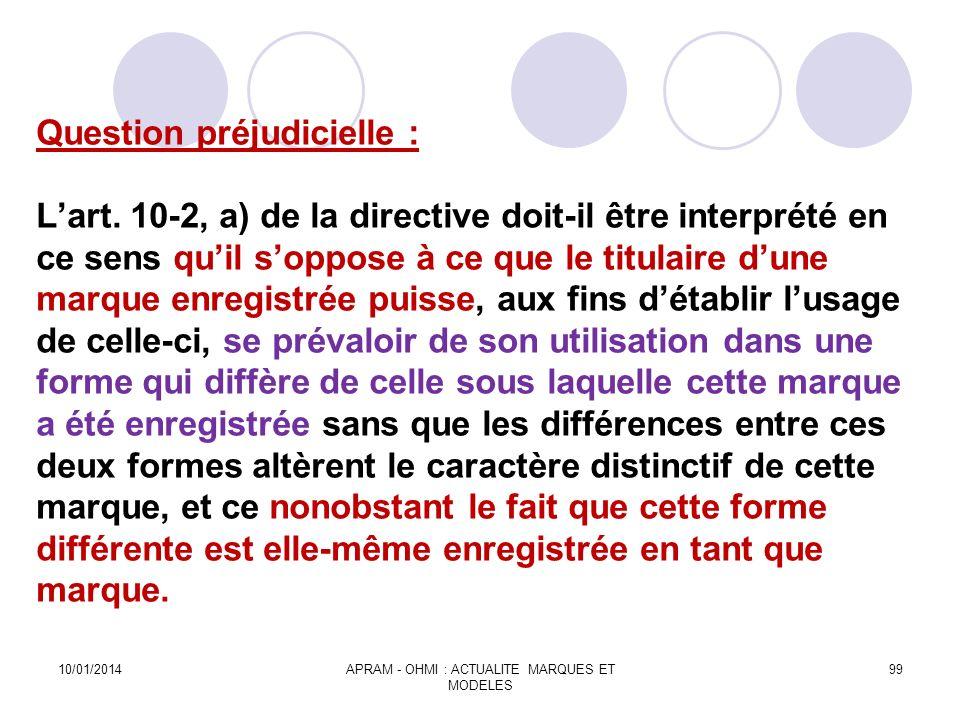 Question préjudicielle : Lart. 10-2, a) de la directive doit-il être interprété en ce sens quil soppose à ce que le titulaire dune marque enregistrée