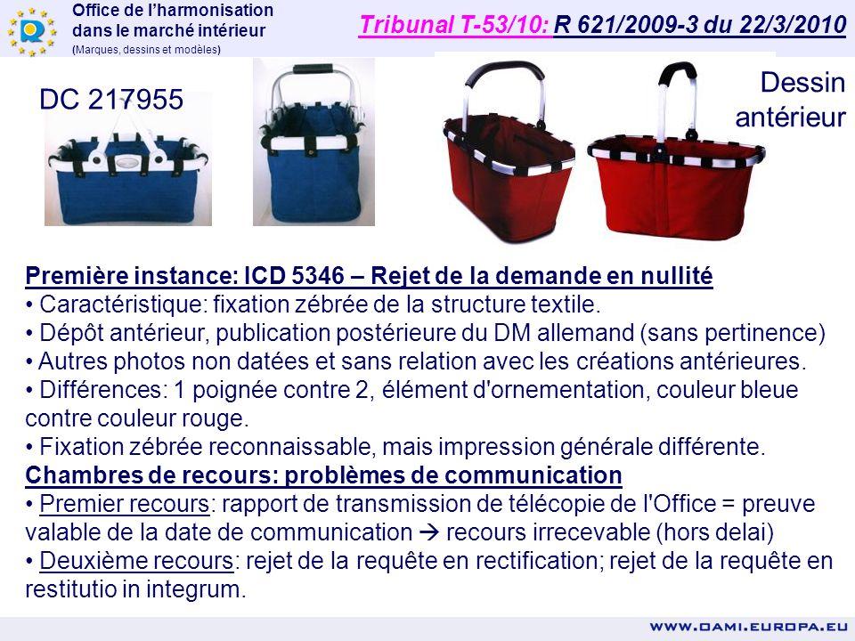 Office de lharmonisation dans le marché intérieur (Marques, dessins et modèles) DC n° 205455 -0001 Première instance: ICD 3812 – Rejet de la demande e