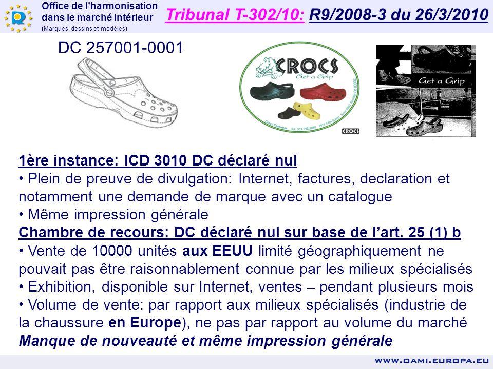 Office de lharmonisation dans le marché intérieur (Marques, dessins et modèles) Première instance: ICD 5163 - DC déclaré nul DC antérieur sur la base