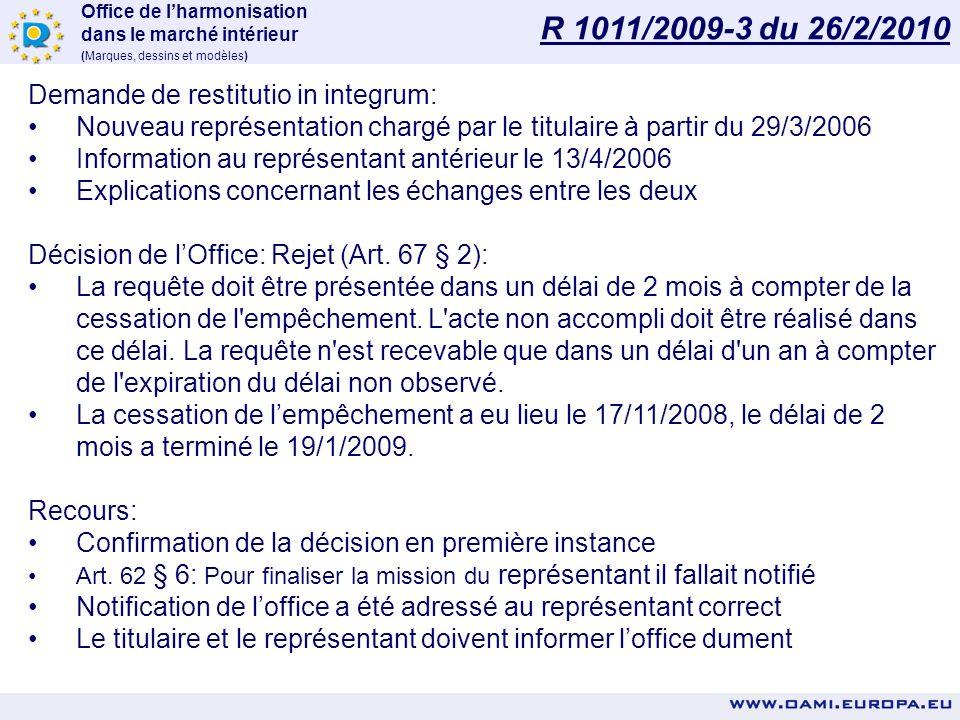 Office de lharmonisation dans le marché intérieur (Marques, dessins et modèles) Renouvellement DC 3181-0001 1.01/04/2003: DC déposé 2.28/09/2007: Noti