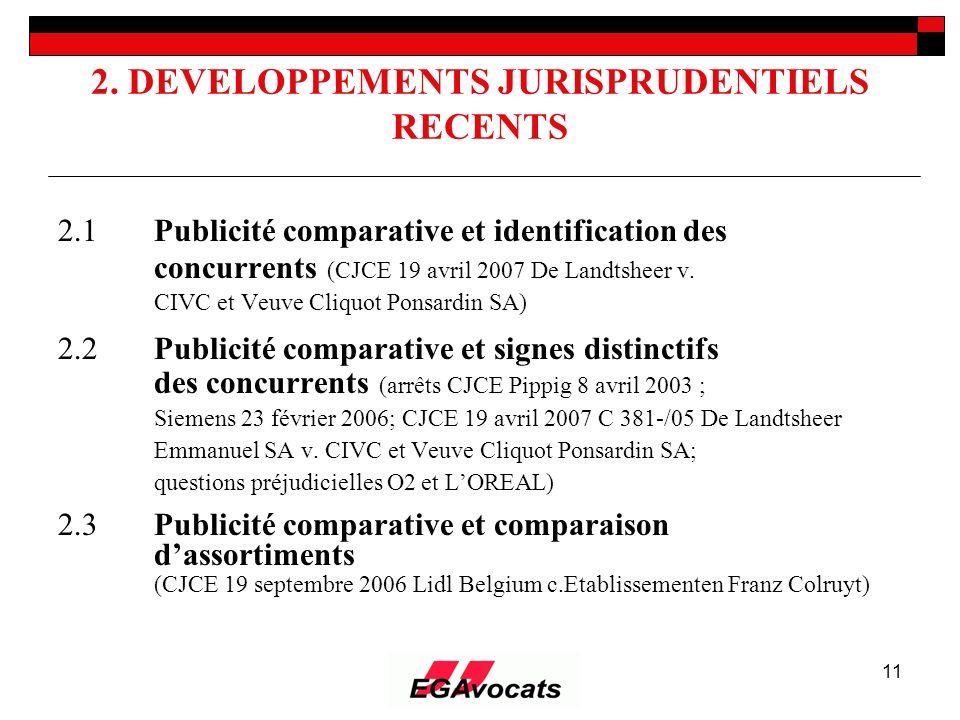 11 2. DEVELOPPEMENTS JURISPRUDENTIELS RECENTS 2.1Publicité comparative et identification des concurrents (CJCE 19 avril 2007 De Landtsheer v. CIVC et