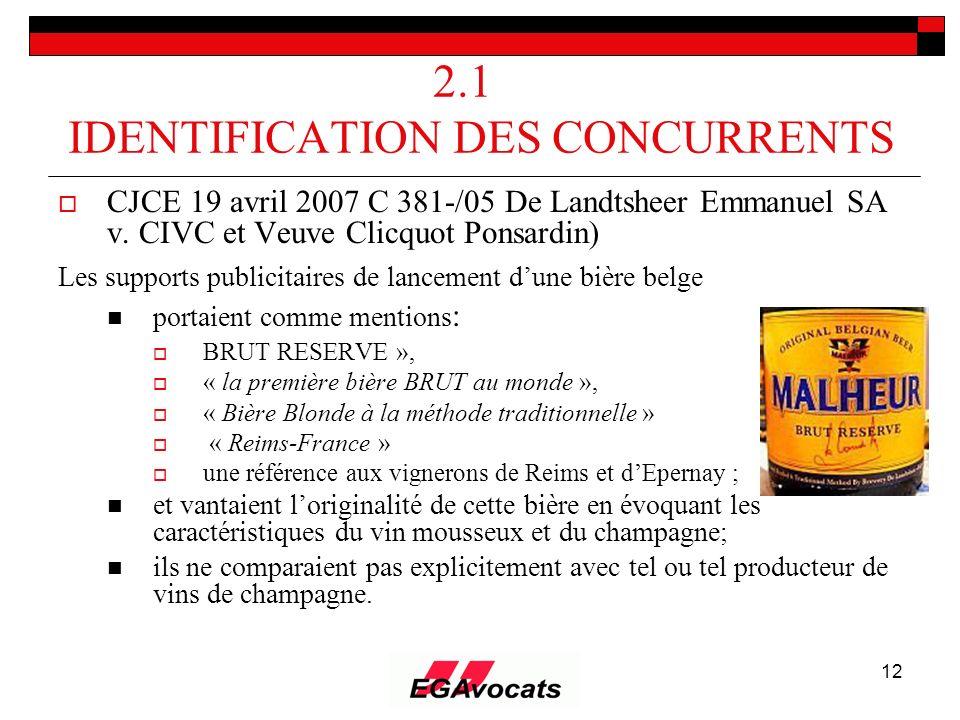 12 2.1 IDENTIFICATION DES CONCURRENTS CJCE 19 avril 2007 C 381-/05 De Landtsheer Emmanuel SA v. CIVC et Veuve Clicquot Ponsardin) Les supports publici