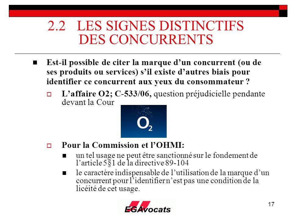 17 2.2 LES SIGNES DISTINCTIFS DES CONCURRENTS Est-il possible de citer la marque dun concurrent (ou de ses produits ou services) sil existe dautres bi