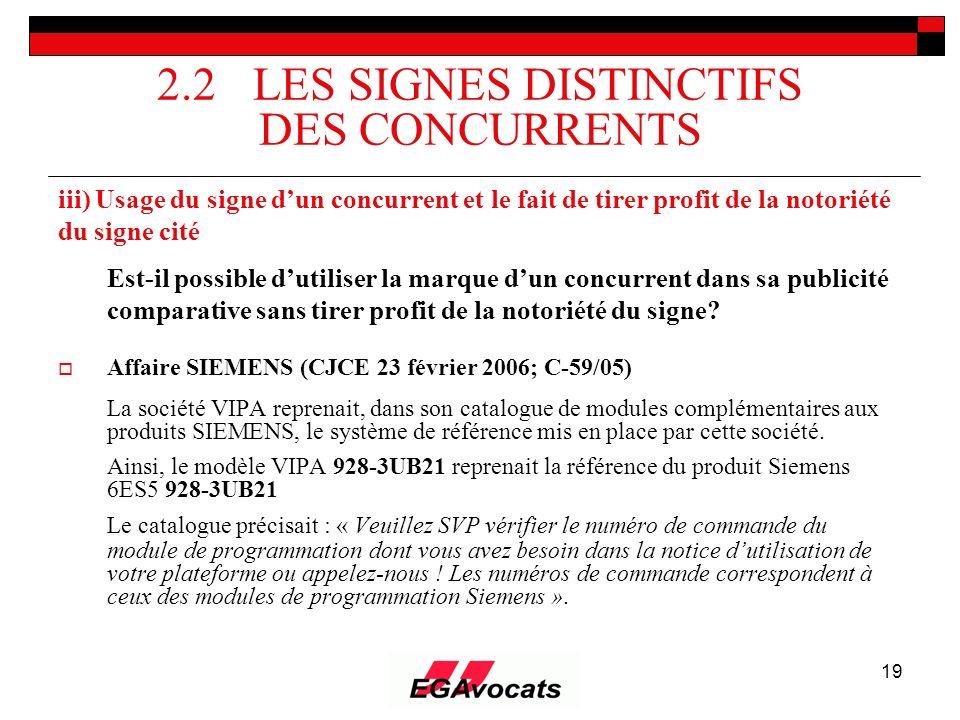 19 2.2 LES SIGNES DISTINCTIFS DES CONCURRENTS iii) Usage du signe dun concurrent et le fait de tirer profit de la notoriété du signe cité Est-il possi