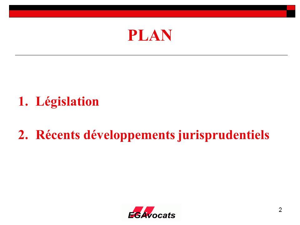 2 PLAN 1.Législation 2.Récents développements jurisprudentiels