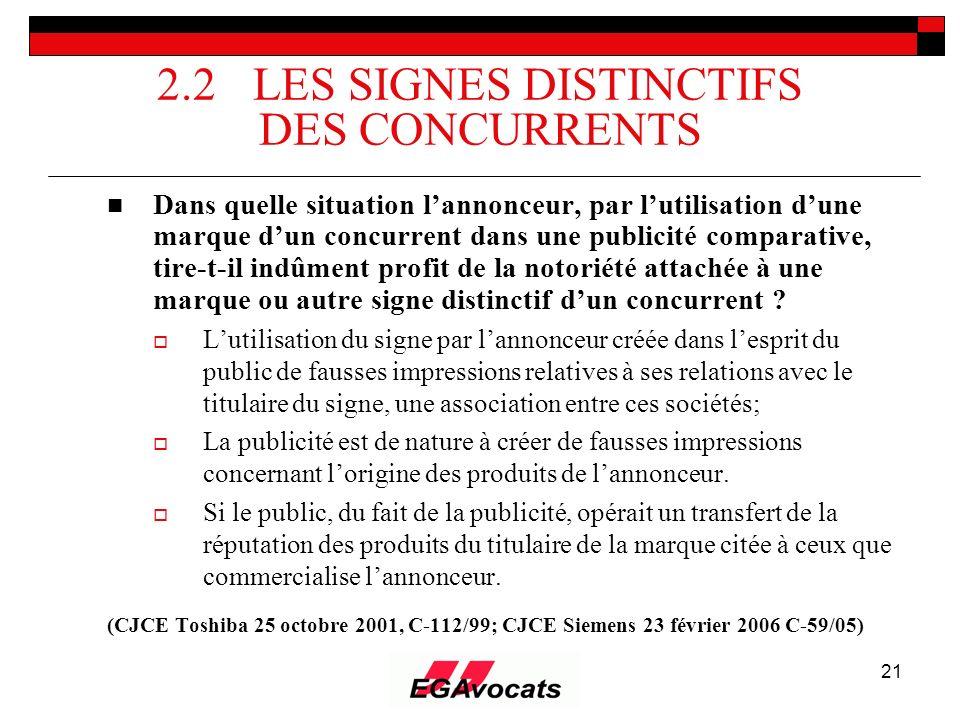 21 2.2 LES SIGNES DISTINCTIFS DES CONCURRENTS Dans quelle situation lannonceur, par lutilisation dune marque dun concurrent dans une publicité compara