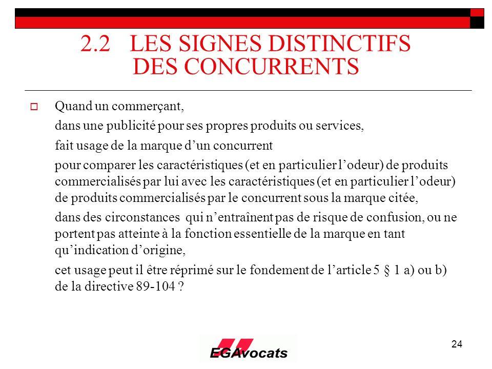 24 2.2 LES SIGNES DISTINCTIFS DES CONCURRENTS Quand un commerçant, dans une publicité pour ses propres produits ou services, fait usage de la marque d