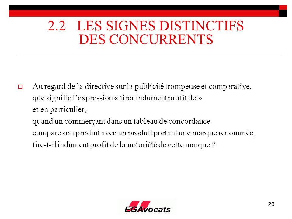 26 2.2 LES SIGNES DISTINCTIFS DES CONCURRENTS Au regard de la directive sur la publicité trompeuse et comparative, que signifie lexpression « tirer in