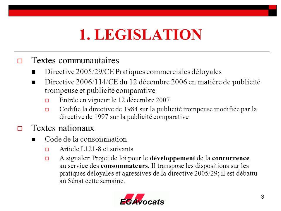 3 1. LEGISLATION Textes communautaires Directive 2005/29/CE Pratiques commerciales déloyales Directive 2006/114/CE du 12 décembre 2006 en matière de p