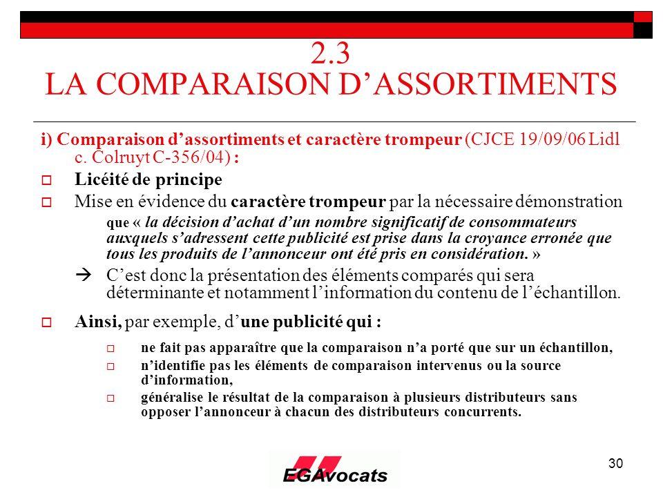 30 2.3 LA COMPARAISON DASSORTIMENTS i) Comparaison dassortiments et caractère trompeur (CJCE 19/09/06 Lidl c. Colruyt C-356/04) : Licéité de principe