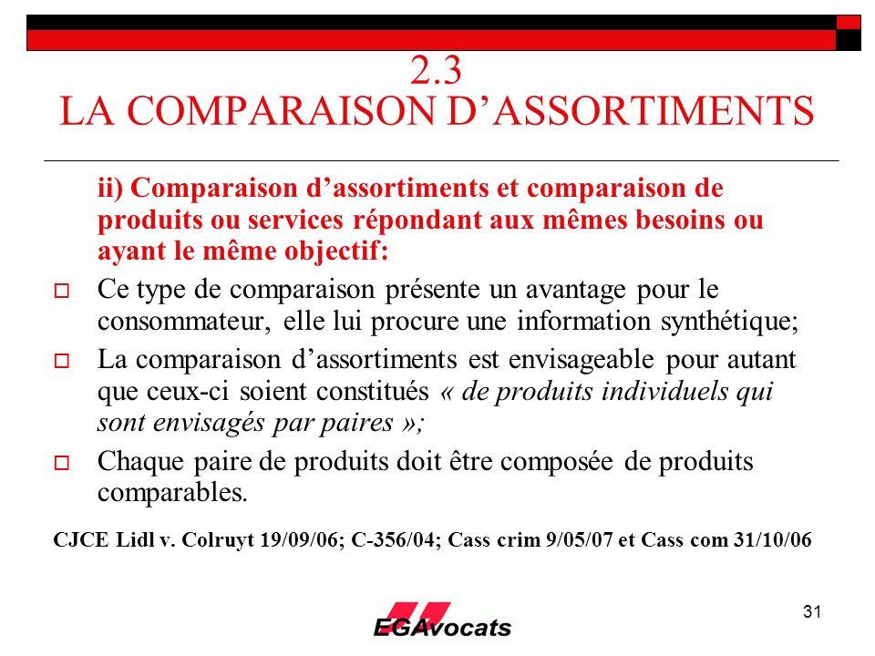 31 2.3 LA COMPARAISON DASSORTIMENTS ii) Comparaison dassortiments et comparaison de produits ou services répondant aux mêmes besoins ou ayant le même