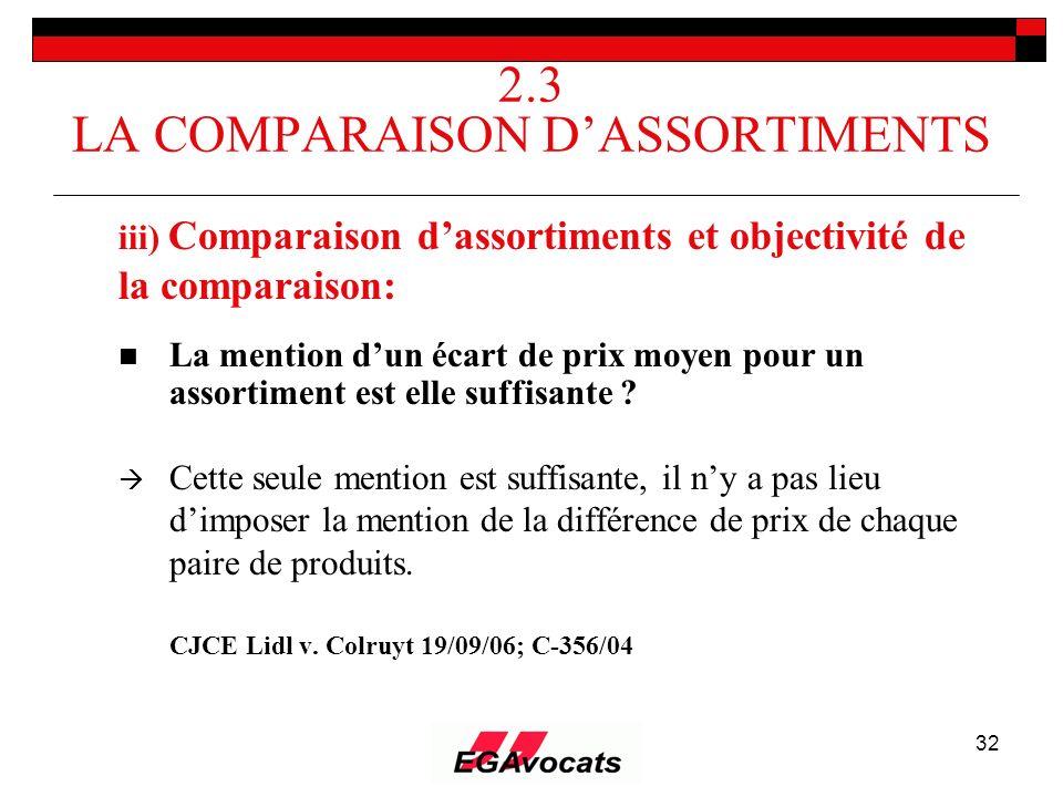 32 2.3 LA COMPARAISON DASSORTIMENTS iii) Comparaison dassortiments et objectivité de la comparaison: La mention dun écart de prix moyen pour un assort