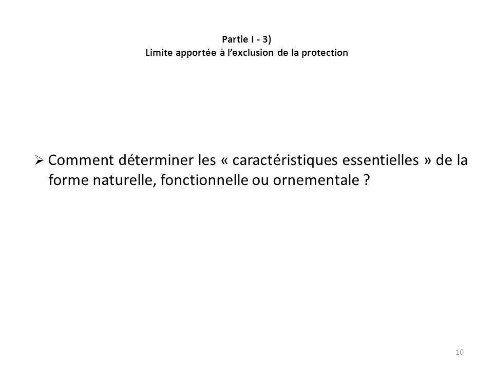 Partie I - 3) Limite apportée à lexclusion de la protection Comment déterminer les « caractéristiques essentielles » de la forme naturelle, fonctionnelle ou ornementale .