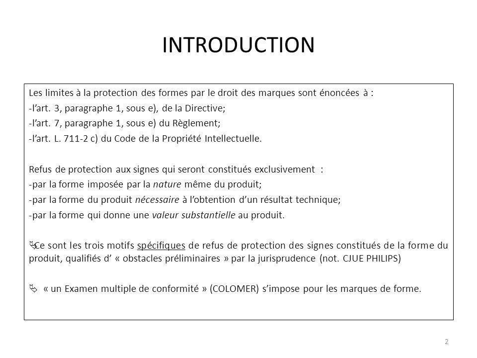 INTRODUCTION Les limites à la protection des formes par le droit des marques sont énoncées à : -lart.
